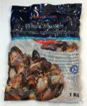 Šaldytos midijos (mėlynieji moliuskai) pilnu kiautu